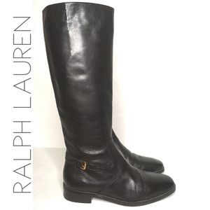 Ralph Lauren tall black leather riding boots 6.5